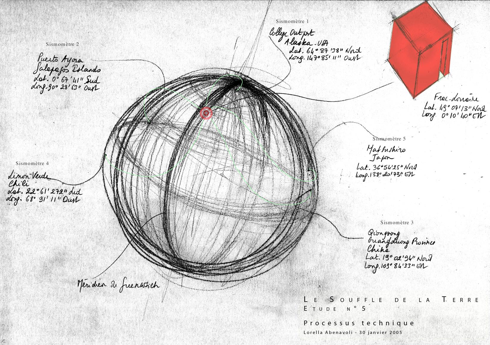 Le Souffle de la Terre, Étude n°5, Principe de liaison des stations sismiques au FRAC Lorraine, Crayon, encre sur papier. 2005. Dessin: ©Lorella Abenavoli