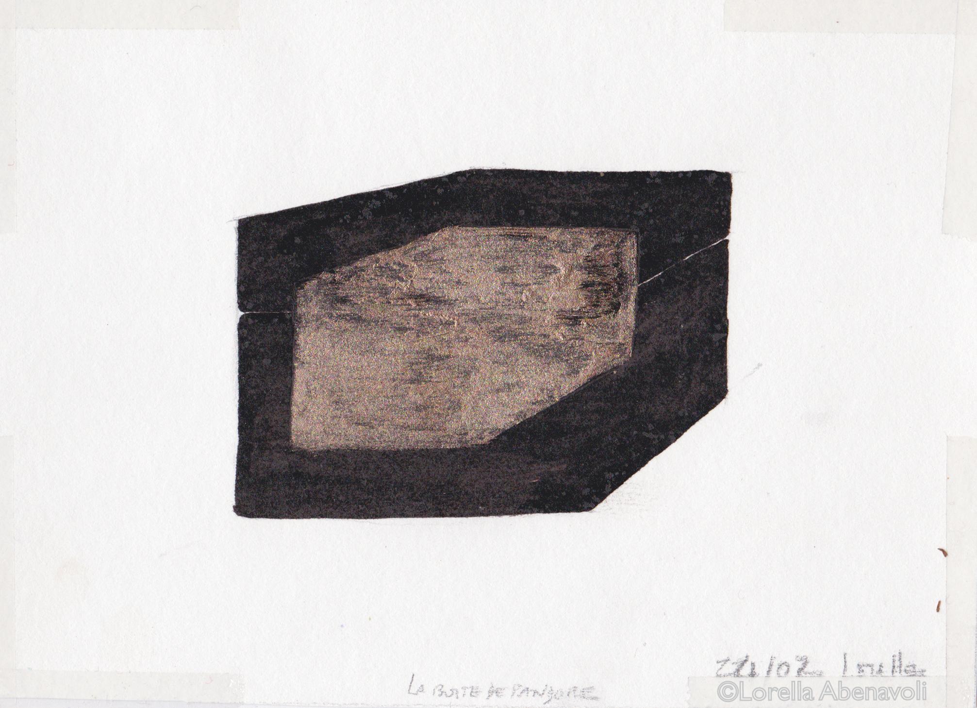 Boîte de Pandore, esquisse préparatoire, Lorella Abenavoli, goudron et pigment poudre de laiton, 2002.