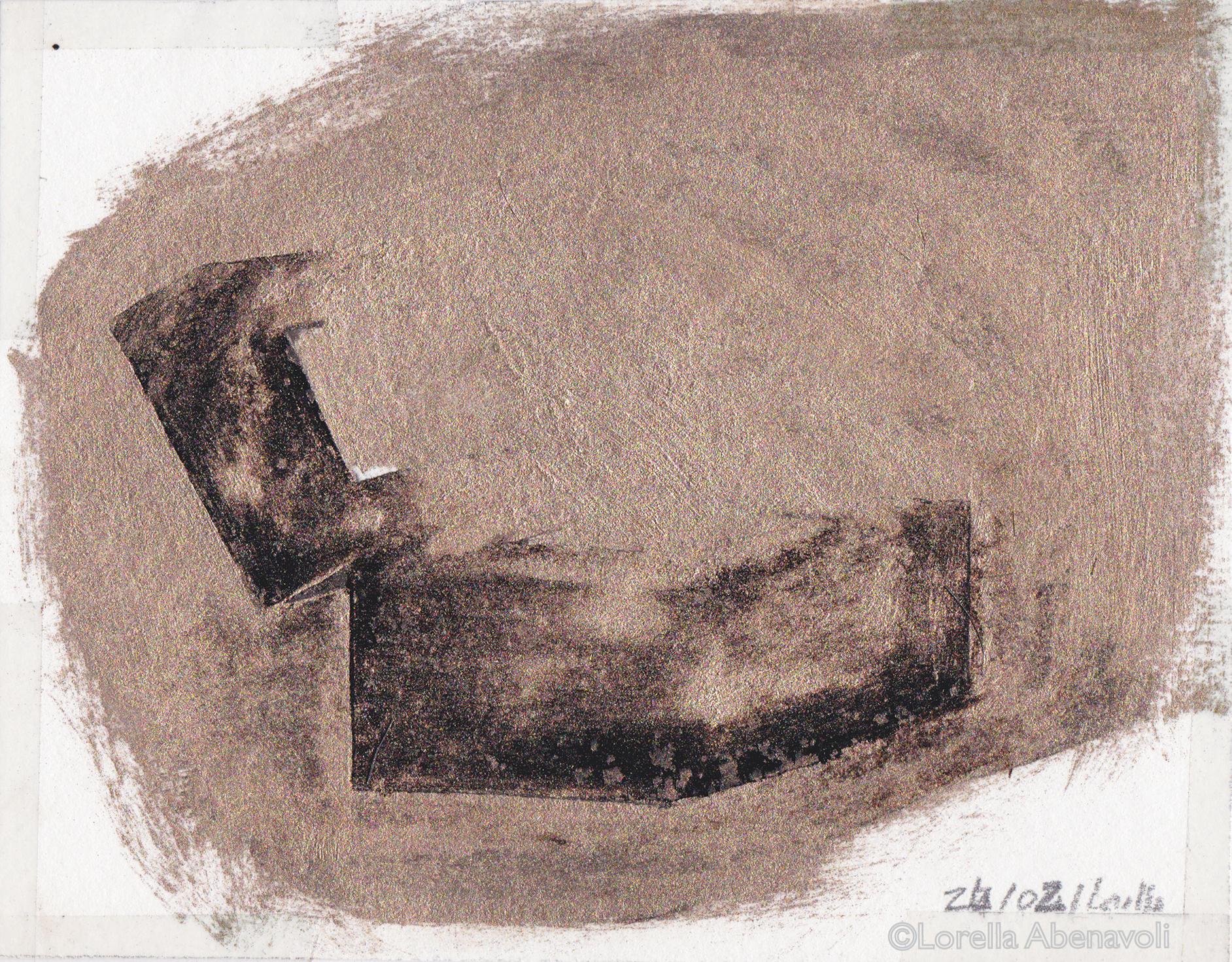 Boîte de Pandore, esquisse préparatoire, Lorella Abenavoli. Goudron et pigment poudre de laiton, 2002