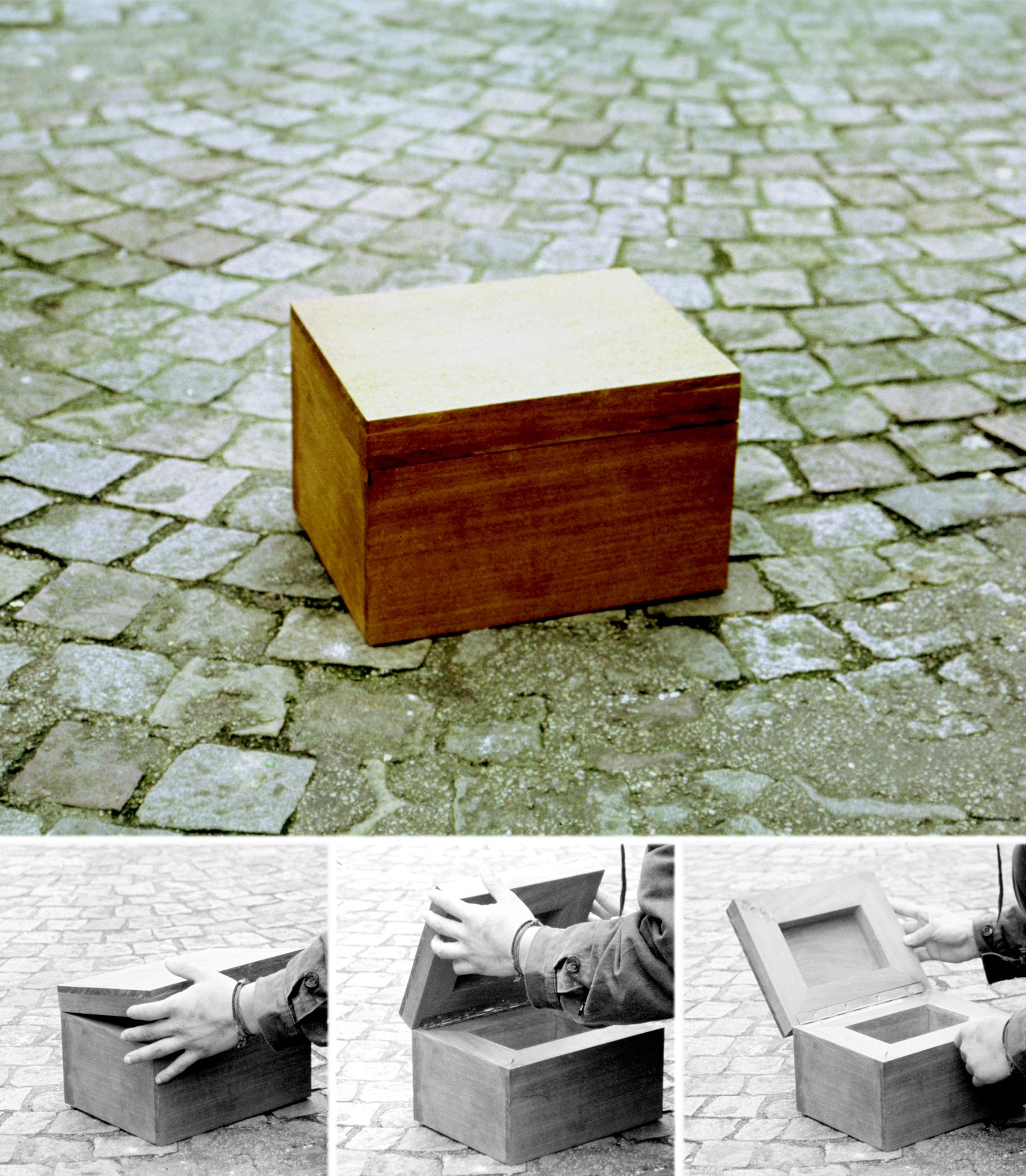 Boîte de Pandore, Lorella Abenavoli. Bois, enregistreur, haut-parleur, aimant. 2002. Pour transporter le Souffle de la Terre