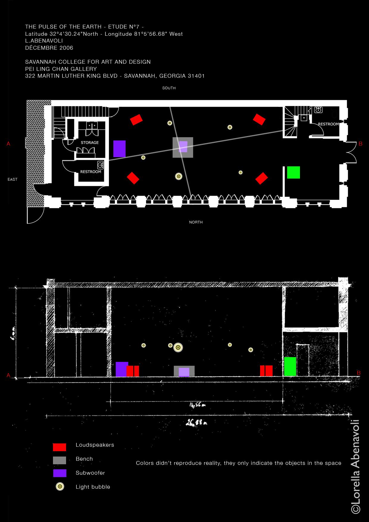 Le Souffle de la Terre, Étude n°7, plans, Lorella Abenavoli. Pei Ling Chan Gallery, Savannah, EU, Plan et coupe de l'installation, Dessin numérique ©Lorella Abenavoli